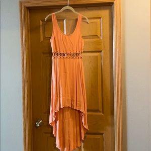 Peach hi low dress